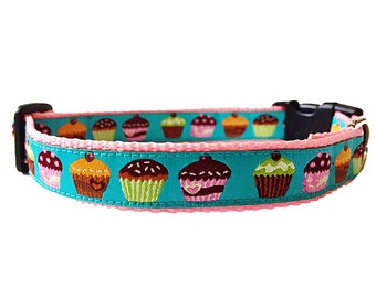 "Cupcake (Blue) Quick Release Adjustable Dog Collar - 3/4"" Wide"