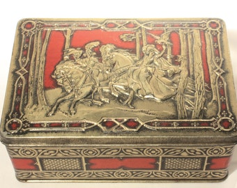 Rileys Toffee Tin, Medieval, Falconry, Collectibles, Vintage Home Decor, England, Embossed, Hinged Lid, Red and Black