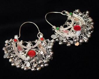 Tribal Kuchi Earrings, vintage, with Colored Glassjewels