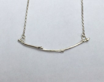 Sterling silver twig necklace/solid silver twig pendant/hallmarked silver twig/silver hawthorn twig necklace
