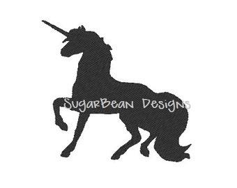 Unicorn Silhouette Embroidery Design. Mini Filled Unicorn Machine Embroidery Design. 4 sizes included for 4x4 hoop