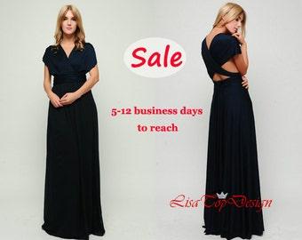 Navy Blue infinity dress, Long convertible dress, bridesmaid dresses, convetible wrap dress