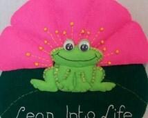 Felt Leap into Life Wall Hanging - Felt Frog & Lilypad - Children's Bedroom - Home Décor - Frog Gifts - Uplifting - Felt Decoration