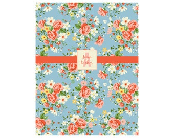 BLUE COUNTRY FLORAL Set of 5 Dividers - Matching Recipe Binder Dividers; Laminated Section Dividers; Customized Section Dividers