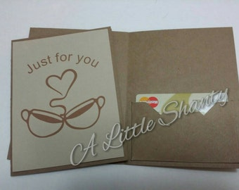 """Just for you card that allows a gift card to be placed inside/A2 card(4.25""""x5.5"""")/kraft paper base/blank inside/Give a gift or a thank you"""