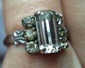 Art Deco - Emerald cut Paste ring - 1930s - Chrome