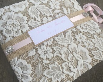 Rustic pale pink hessian and recycled paper guestbook