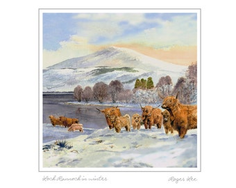 Highland cattle next to Loch Rannoch -Scotland, Traditional Range Christmas cards