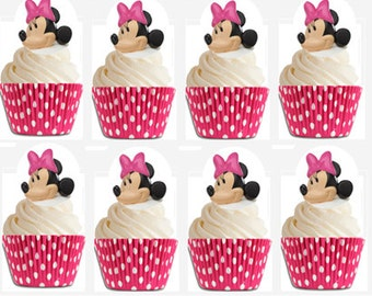 24 Minnie Mouse Cupcake Decoration Rings with Hot Pink Polka Dot Baking Cups