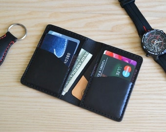 Credit card case in Horween Black leather / Wallet, business card, purse in Black Horween Horse Chromexcel leather