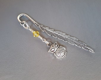 Owl Bookmark-Party Favor-Metal Silver Tone Feather Bookmark-Small Shepherd Hook Page Marker-Owl Charm-Choice of Color of Swarovski Crystal