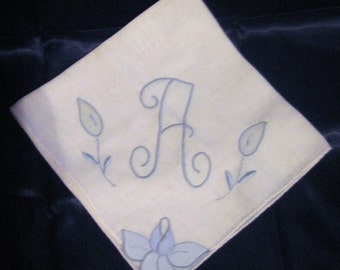 Vintage Monogramed A Wedding Handkerchief, Hanky with Applique flowers in Baby Blue