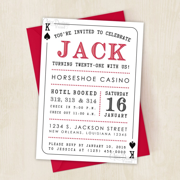 Casino Party Invitation Deck Of Cards King Amp By Chiccdesigns