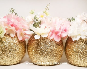 Wedding Centerpiece, Bridal Shower Decorations, Baby Shower Centerpiece, Gold Wedding Decor, Wedding Shower Decorations, Glitter, Set of 3