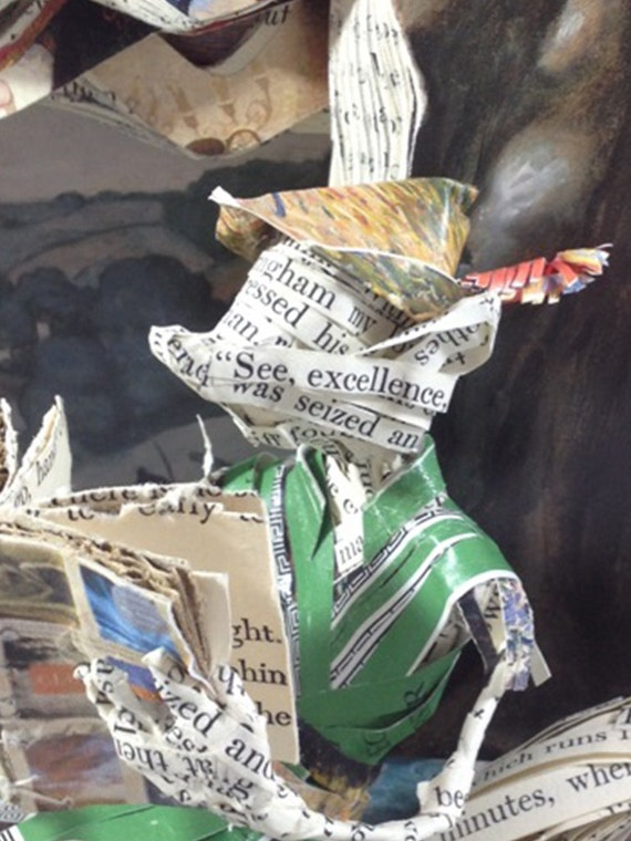 Father's Day, Book Art, Robin Hood, Book lover, Book Sculpture, Paper Mache, Fox, paper sculpture, reader, books, library, paper art,