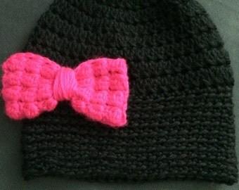 the abigail black 3-6yo hat w/hot pink bobble bow