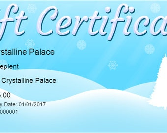 25.00 Crystalline Palace Gift Certificate