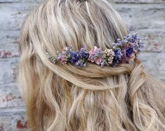 Midnight Haze Dried Flower Half Hair Crown with Comb