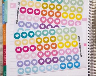"""108 dot stickers, 0.5"""" round stickers, heart circle stickers, planner stickers, reminder checklist sticker eclp filofax happy planner kikkik"""