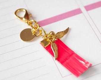Gold planner charm, tiny fringe women keychain, key accessory, life planner agenda, filofax midori kikki.k happy planner, bag zipper pull