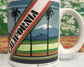 vintage Karol Western Coffee Mug Cup California Souvenir with Palm Trees and Miuntain Scene 4 inch