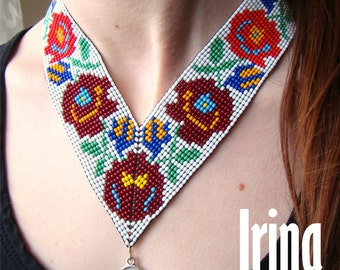 Traditional ukrainian gerdan. Beaded gerdan. Angle Gerdan with rose. Кутовий гердан
