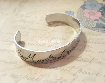 Hand Stamped Jewelry, She May Be Little But She Is Fierce Cuff Bracelet, Motiviational Bracelet, Inspirational Cuff, Gift for Her, Inspiring