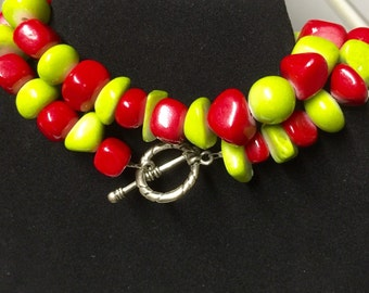 Bold Chunky Red Coral Lime Green Quartz Toggle Clasp Necklace and/or Bracelet