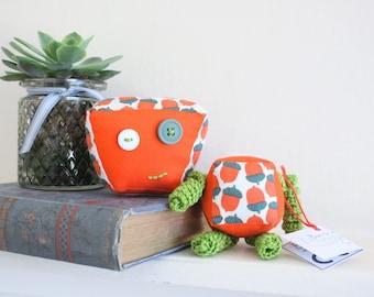 Robot soft toys // Autumnal // Plush toys // Children's toys // Interchangeable heads // Autumn // Acorns // Orange Toy //