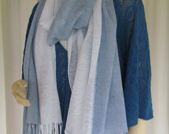 Two-colour Sheer Linen Knitted Scarf