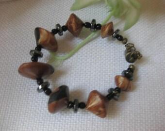 Faux Wood Lentil Bead Bracelet