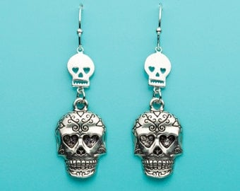 Sugar Skull Earrings, Skull with Heart Eyes, Skull Gift, Dangle Earrings, Gifts for Her, 326
