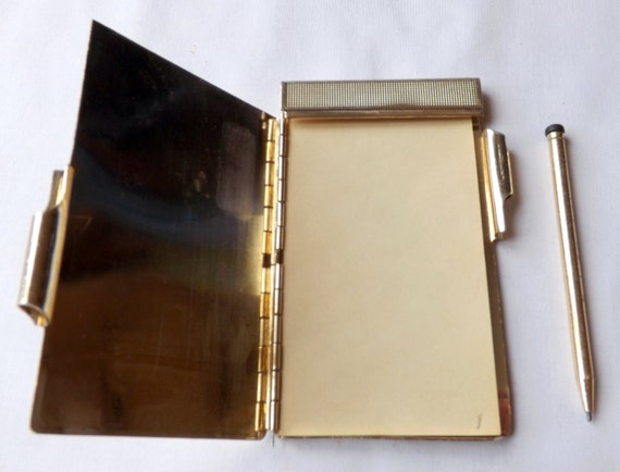 Note Pad Holder Vintage Gold Coloured Lightweight Metal With