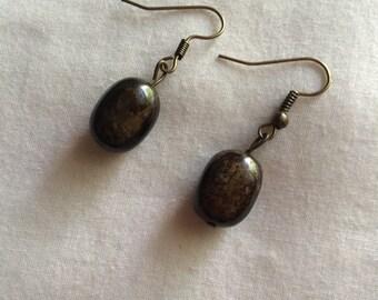 Bronze Flecked Drop Earrings