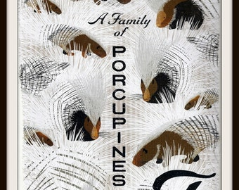 A Family of Porcupines Book Print (2011): Frameable Nursery Wall Art, Collective Noun, Teacher Gift, White Brown Grey, Animal Alphabet Image