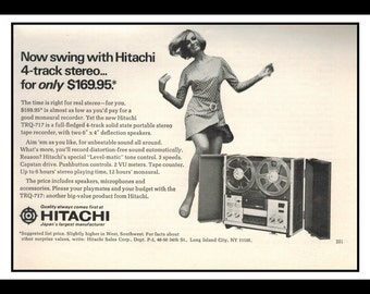 "Vintage Print Ad October 1968 : Hitachi Reel to Reel 4 Track Stereo Sexy Girl Wall Art Decor 8.5"" x 5.5"" Advertisement"