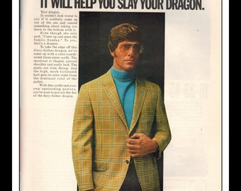 "Vintage Print Ad May 1969 : Cricketeer Wool Fashion ""Slay your Dragon"" Clothing Wall Art Decor 8.5"" x 11"" Advertisement"