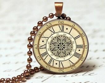Antique vintage old clock nickel free pendant necklace