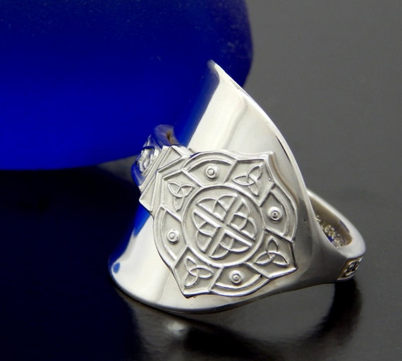 solid silver spoon thumb ring vintage sterling silver celtic
