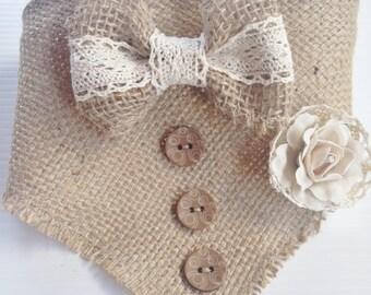 Stylish Vintage Inspired Burlap Bow Tie Rose Bud Dog Wedding Neck Scarf Bandana
