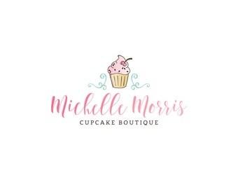Logo Design - Premade Logo Design - Bakery Logo - Cupcake Logo - Muffin Logo - Fun Logo - Pink Logo, Customized for any business - 091