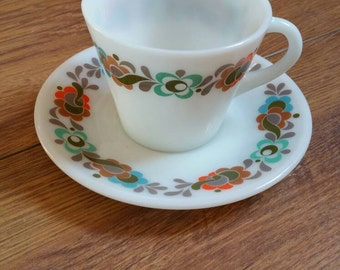"Vintage 1960's English JAJ PYREX ""Carnaby Tempo"" print set of 4 tea cups & saucers! (Matching items available...Ask for International post!)"