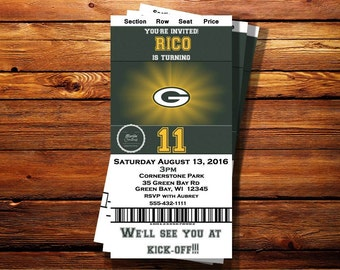 Green Bay Packers Ticket Birthday Invitation-Can be customized to any occasion