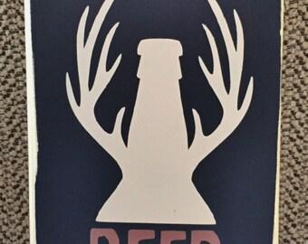Beer Season/Beer Sign/Deer Hunter/Man Cave/Man Gift/Beer Season Bottle Opener/Antlers Sign/Bottle Opener/Vintage Opener/hunting theme