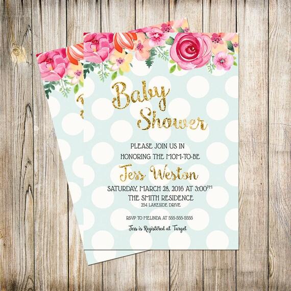 baby shower invitation shabby chic shower invitation boy baby girl