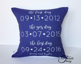 Personalized Pillow- Engagement Gift- Couples Pillow- Wedding Gift- Valentine Idea- Custom Date Cushion- 2nd Anniversary- Cotton