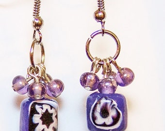 Purple Beads Earrings, Beads with White Flowers on the Black Beckground, Fashion Jewerly