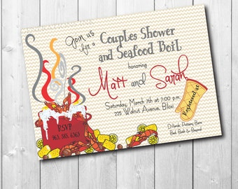Couples Shower & Seafood or Crawfish Boil Invitation / digital file / printable/ wording can be changed