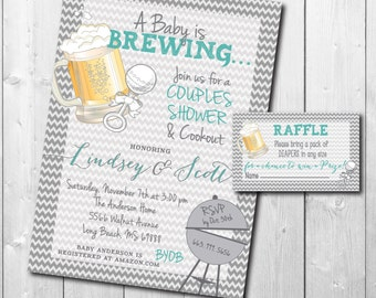 Baby is Brewing Invitation printable/Digital File/diaper raffle ticket, Couples Baby Shower, Bun in Oven, Cookout/Wording can be changed