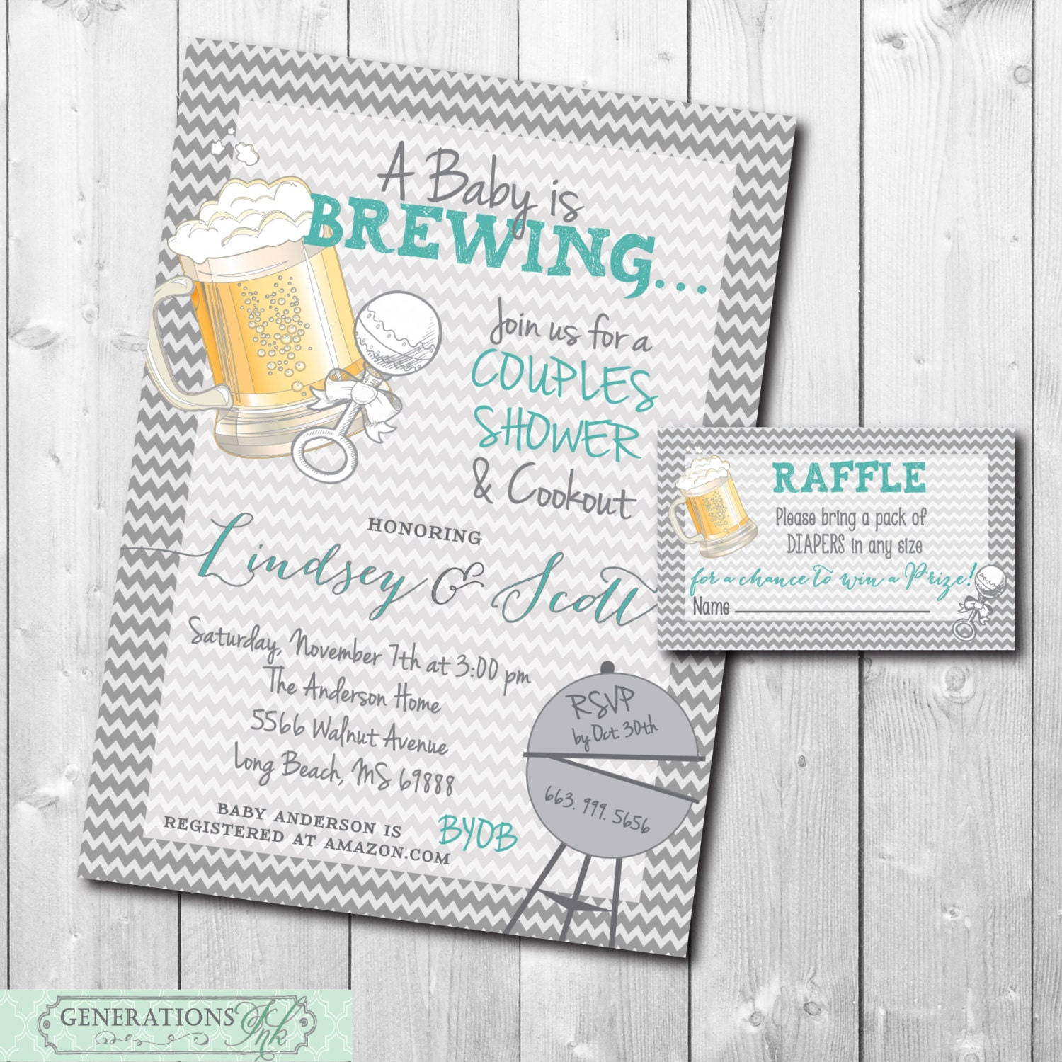 Couples Baby Shower Invitation and Diaper Raffle Ticket